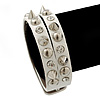 Crystal Studded White Faux Leather Strap Bracelet (Silver Tone) - Adjustable up to 22cm