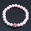 Pale Pink Glass Bead With Pink Swarovski Crystal Ball Flex Bracelet - 18cm Length