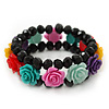 Romantic Multicoloured Resin Rose, Black Glass Bead Flex Bracelet - 19cm Length