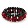Romantic Dark Red Resin Rose, Black Glass Bead Flex Bracelet - 19cm Length
