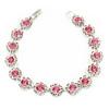 Light Pink/ Clear Austrian Crystal Floral Bracelet In Rhodium Plated Metal - 17cm L