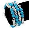 Light Blue Ceramic & Silver Tone Acrylic Bead Coiled Flex Bracelet - Adjustable