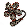 Dark Cappuccino Flower Copper Wire Flex Bracelet