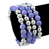 Lavender Ceramic & Silver Tone Acrylic Bead Coiled Flex Bracelet - Adjustable