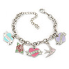 PINK COOKIE IN PURSE Hearts, Rose, Swallow Charm Oval Link Bracelet In Rhodium Plating - 15cm L/ 5cm Ext