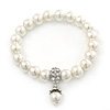 Prom, Bridal, Wedding 10mm White Glass Pearl Flex Bracelet With Crystal Rings - 19cm Length