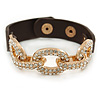 Clear Crystal Oval Link With Faux Brown Leather Bracelet In Gold Tone - 19cm L