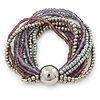 Multistrand Glass and Plastic Bead Flex Bracelet with a Ball (Silver/ Lavender/ Grey) - 19cm L