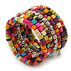 Wide Mulicoloured Wooden Bead Coil Flex Bracelet - Adjustable