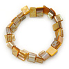 Antique Yellow Shell Nugget Stretch Bracelet - 17cm L