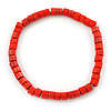Unisex Red Wood Bead Flex Bracelet - up to 21cm L