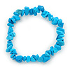 Light Blue Semiprecious Nugget Stone Beads Flex Bracelet - 18cm L