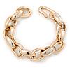 Mirrored Gold Tone Oval Chunky Acrylic Link Bracelet - 20cm L