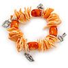 Orange/ Peach Shell Nugget, Ceramic Bead, Burnt Silver Metal Charm Flex Bracelet - 18cm L
