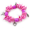 Fuchsia/ Pink Shell Nugget, Ceramic Bead, Burnt Silver Metal Charm Flex Bracelet - 18cm L