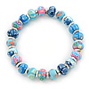 Blue Fimo Bead With Silver Tone Flex Bracelet - 18cm Length