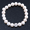10mm Freshwater Pearl With Clear Crystal Disco Ball Bead Stretch Bracelet - 18cm L