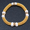 Gold Tone Snowflake With 9mm Light Cream Freshwater Pearl Bead and Crystal Spacer Stretch Bracelet - 19cm L