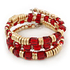 Gold Plated Metal & Red Glass Bead Coil Flex Bracelet - Adjustable