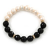 10mm Light Cream Freshwater Pearl with Black Faceted Onyx Stone Stretch Bracelet - 18cm L
