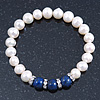 8mm White Freshwater Pearl with Semi-Precious Dark Blue Lapis Stone Stretch Bracelet - 18cm L