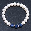 8mm White Freshwater Pearl with Semi-Precious Dark Blue Lapis Stone Stretch Bracelet - 18cm L
