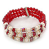 3 Strand Red Glass Bead, White Freshwater Pearl Stretch Bracelet - 19cm L