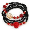 Black, Red Glass Bead With Red Acrylic Rose Flex Bracelet/ Necklace - 70cm L