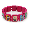 Deep PInk Cupcake Wooden Stretch Icon Bracelet - 18cm L