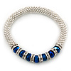 Silver Tone Snowflake Rings with Blue Crystal Beads Flex Bracelet - 17cm L
