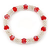 Silver Tone Snowflake Rings with Red Crystal Beads Flex Bracelet - 18cm L