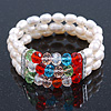 3 Row Cream Freshwater Pearl, Multicoloured Crystal Bead Flex Bracelet - 19cm L