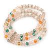 3-Strand Light Pink Glass Bead, White Freshwater Pearl Stretch Bracelet - 19cm L