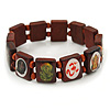 Indian Religious Brown Wood Ganesh & OM Stretch Icon Bracelet - 18cm L