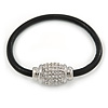 Black Leather Bracelet With Silver Tone Crystal Magnetic Closure - 18cm L