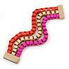 Magenta/ Brushed Gold/ Orange Box Style Chain Wide Magnetic Bracelet - 17cm L- for smaller wrist