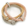 Set of 3 Mesh Bracelets With Crystal Rings In Silver/ Rose/ Gold Tone - 17cm L - for small wrist