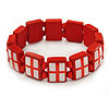 Red Wooden England Flag Stretch Icon Bracelet - up to 20cm L