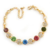 Multicoloured Autstrian Crystal, Heart Bracelet In Gold Plating - 18cm L/ 6cm Ext