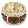 Brown Snake Print, Crystal Flex Bracelet In Gold Tone - up to 18cm L