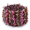 Pink/ Transparent/ Brown/ Cappuccino Cluster Glass Bead Flex Bracelet - up to 18cm L