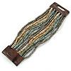 Dusty Light Blue/ Metallic Grey/ Antique White Glass Bead Multistrand Flex Bracelet With Wooden Closure - 19cm L