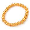 8mm Golden Yellow Pearl Style Single Strand Bead Flex Bracelet - 18cm L