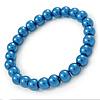 8mm Cobalt Blue Pearl Style Single Strand Bead Flex Bracelet - 18cm L
