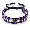 Unisex Purple/ Silver Glass Bead Friendship Bracelet - Adjustable