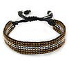 Unisex Brown/ Silver Glass Bead Friendship Bracelet - Adjustable