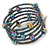 Multistrand Peacock Coloured Glass Bead Flex Bracelet - Adjustable