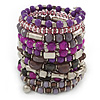 Wide Coiled Ceramic, Acrylic, Glass Bead Bracelet (Purple, Fuchsia, Pink, Silver) - Adjustable
