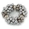 Chunky Light Grey Glass Pearl, Anthracite Coloured Crystal Bead Flex Bracelet -18cm L