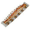 Silver/ White/ Toffee/ Bronze Glass Bead, Silk Cord Handmade Magnetic Bracelet - 18cm L
